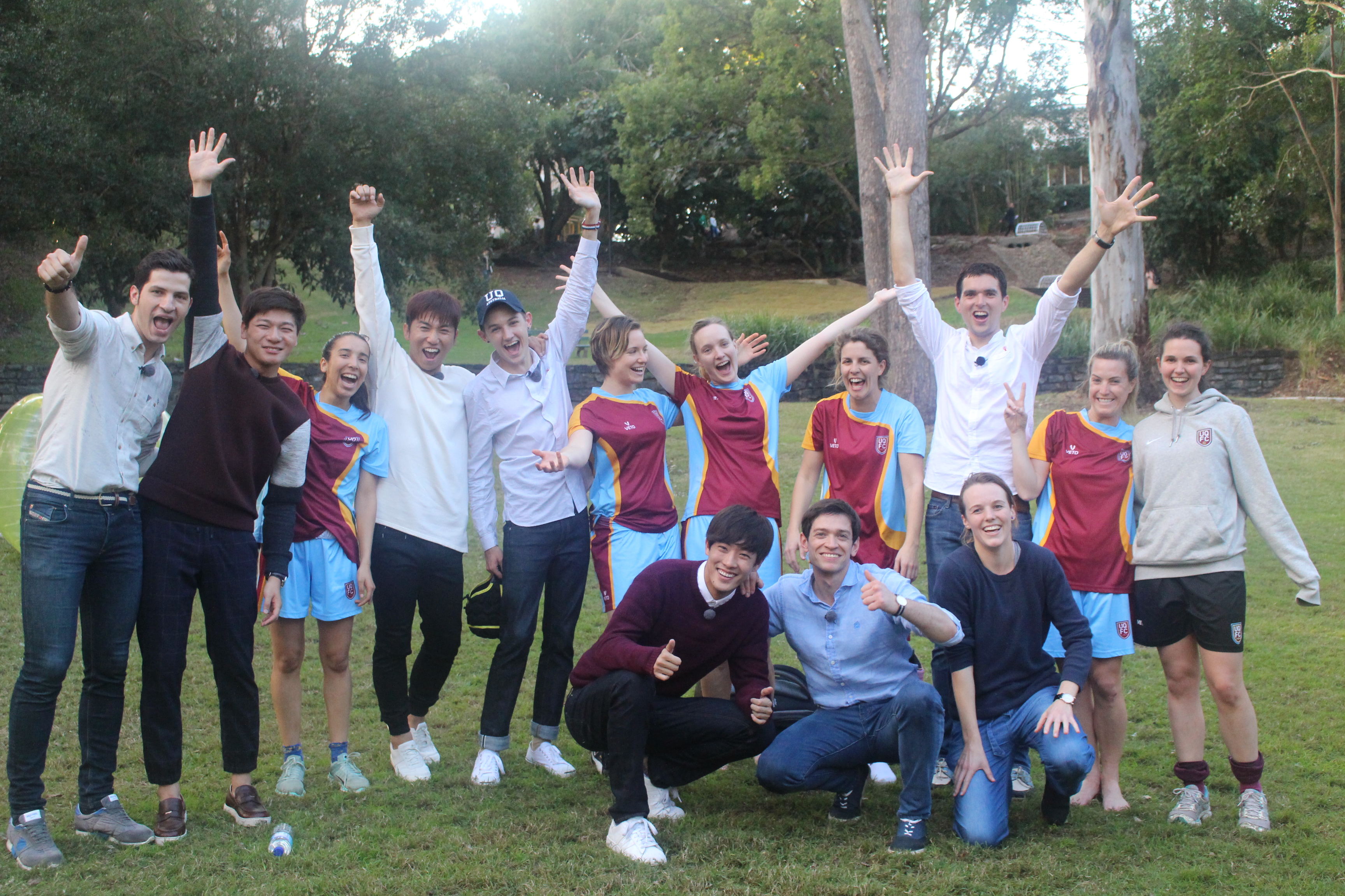 Abnormal Summit cast and the UQFC female soccer team after the match.